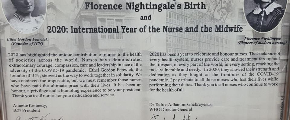 В честь Международного года медицинской сестры и акушерки